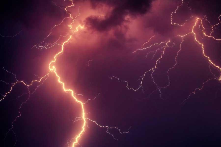 lightning flash at night