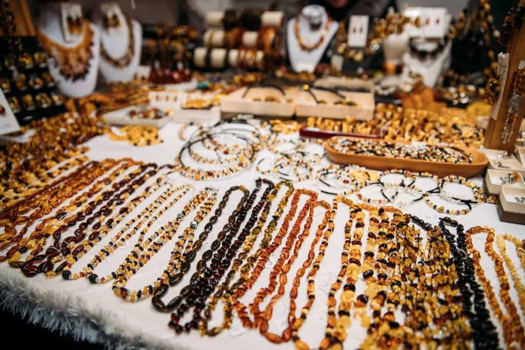 Amber Beads. Jewellery Made Of Amber. Traditional Souvenirs At E