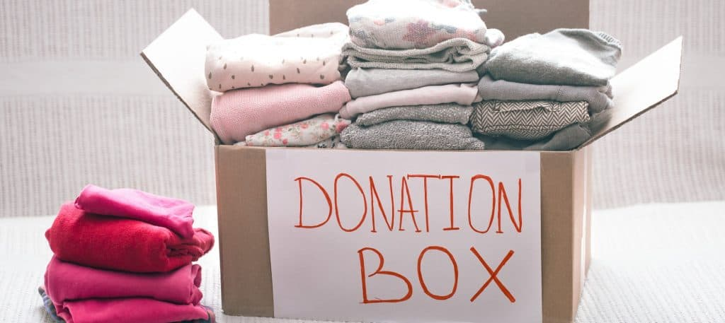 Box with clothes for charity