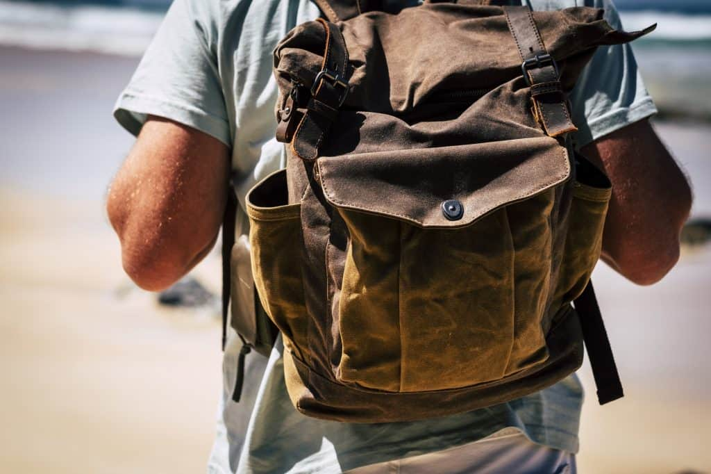 close up of a man with backpack