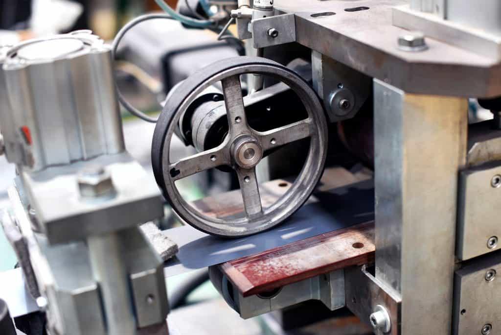 Close up of wheel in machine
