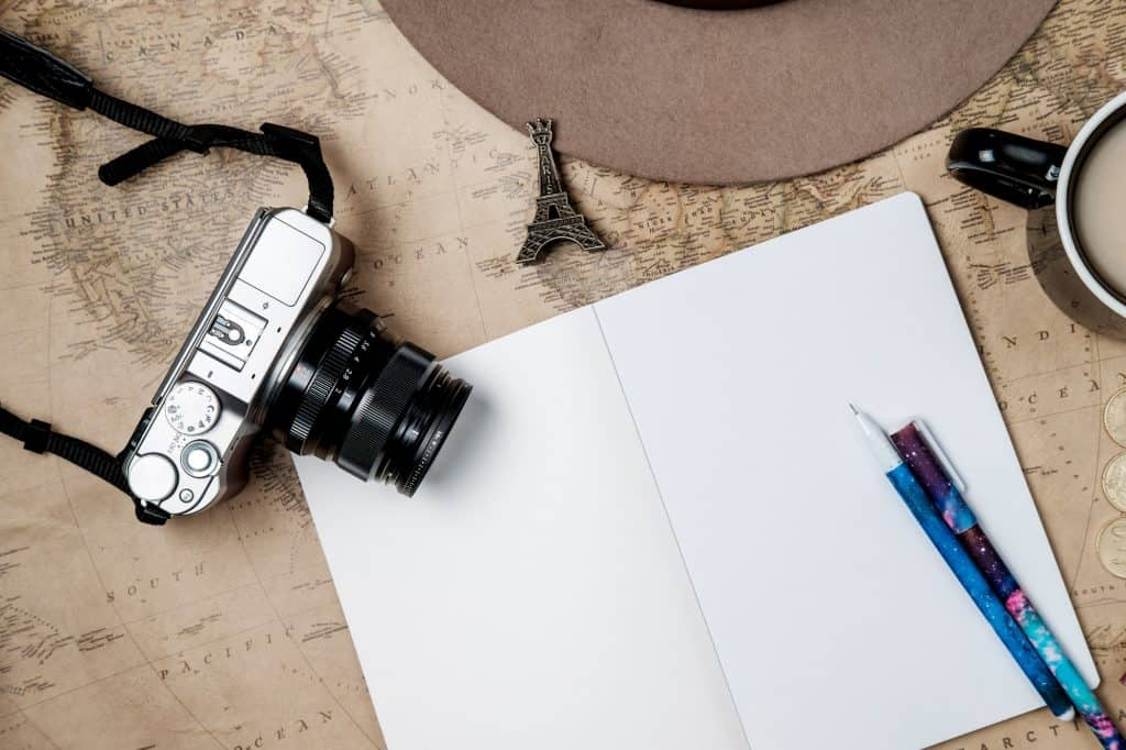 Flat lay adventure vintage background with hat, camera and passport on old map. Top view