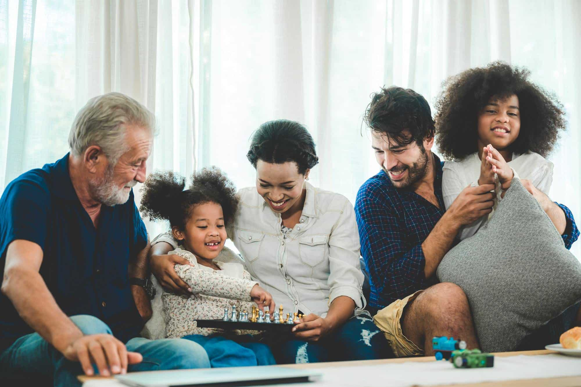 Happy multi-generation family living at home, stay home and relaxing with big family