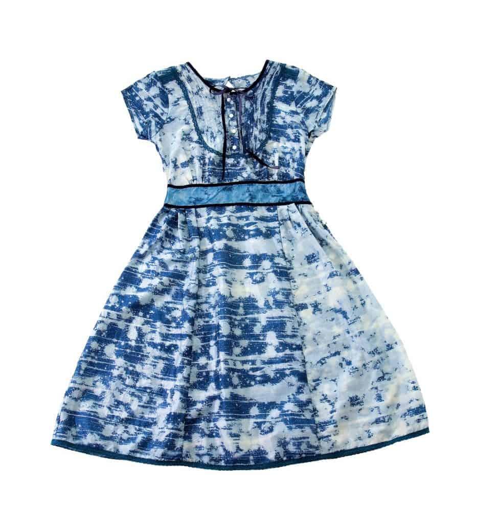 Paint spots blue evase belted dress