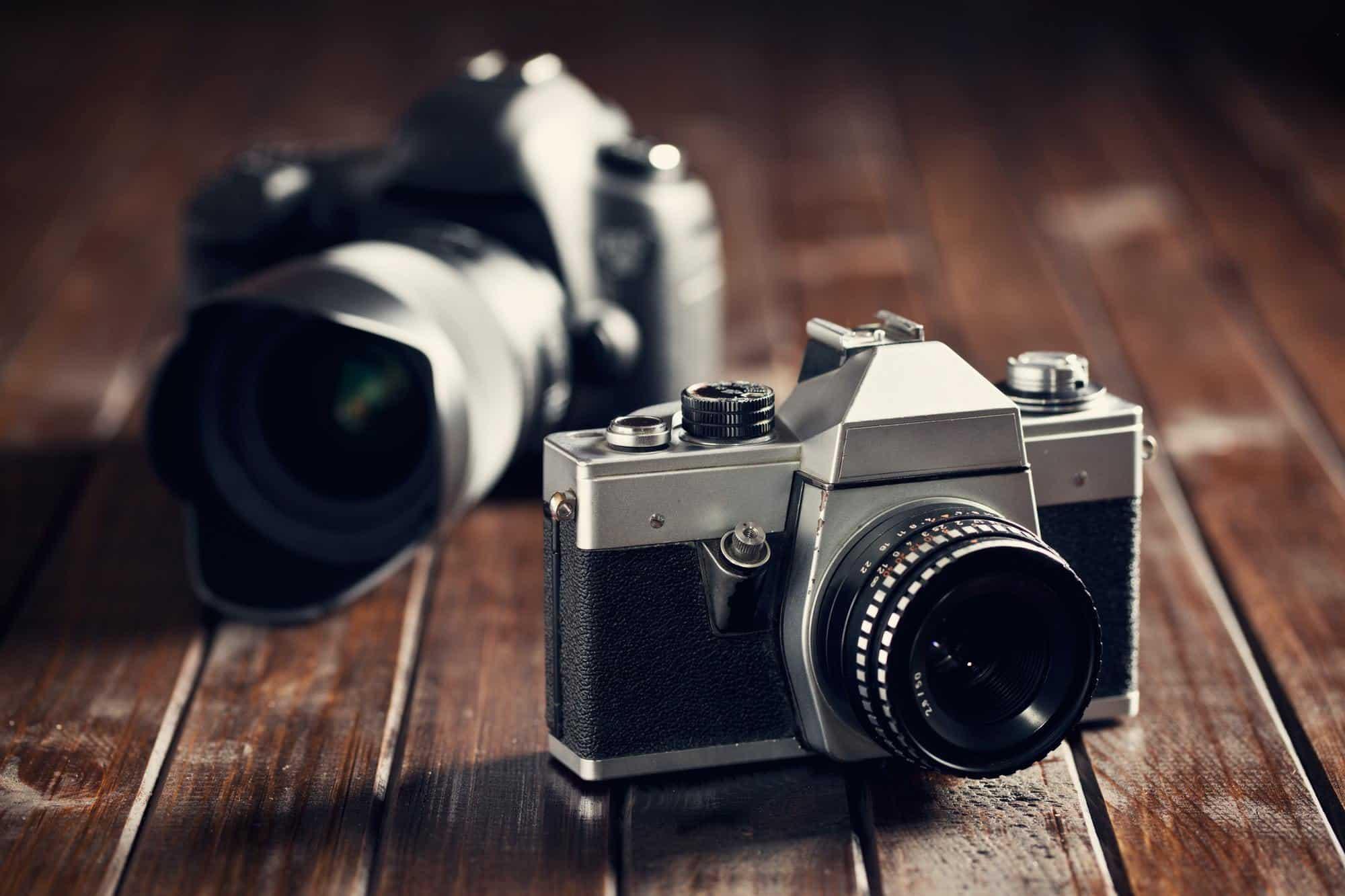 retro and dslr camera