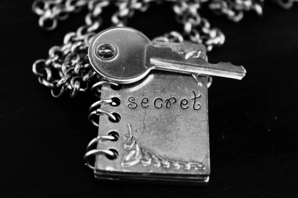 Silver chain and pendant in the shape of a book , ingraved with the word 'secret' , silver key