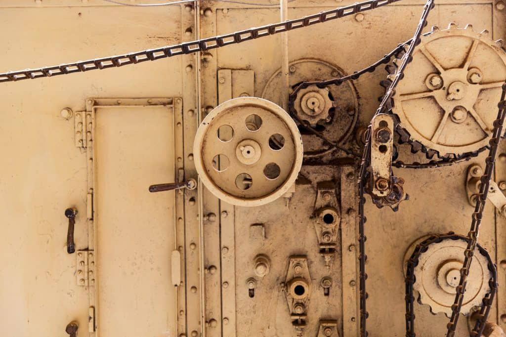 vintage machine mechanism at old abandoned factory